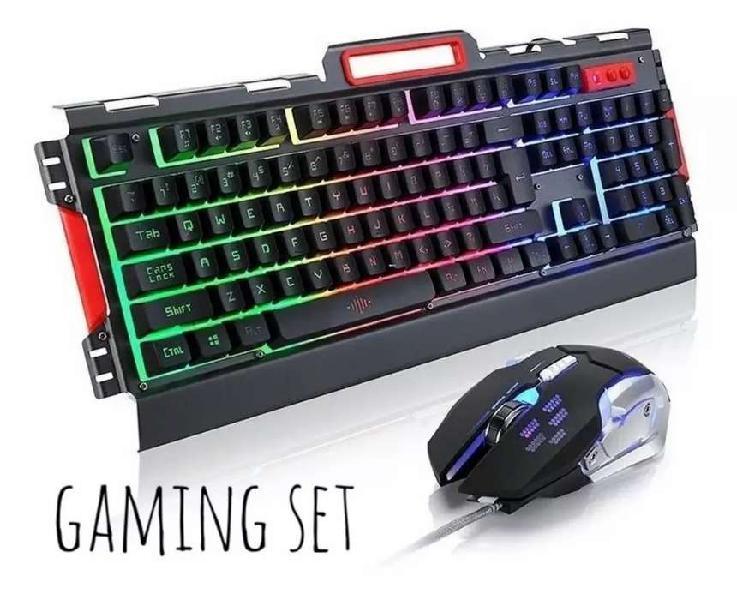 Gaming set, teclado y mouse gamer retroiluminados