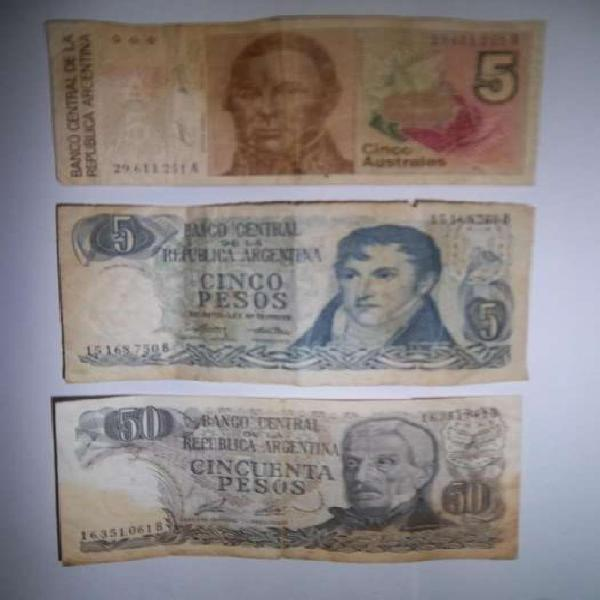 Lote de 3 billetes antiguos de 5 , 50 pesos y 5 australes