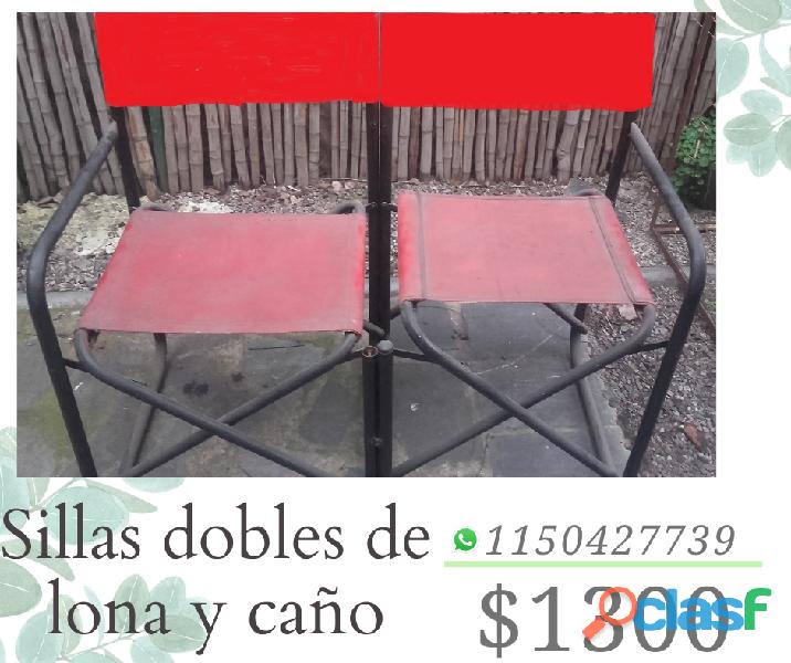 SILLAS DOBLES DE CAÑO Y LONA EN LANUS
