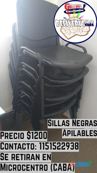 Sillas negras apilables para oficina