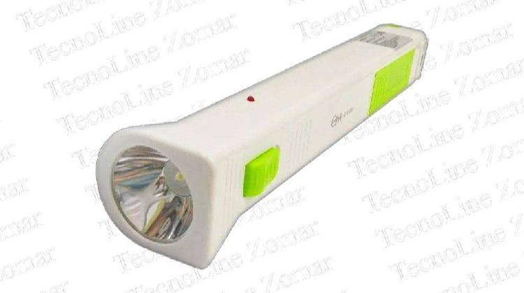 Luz de emergencia linterna led 2 en 1 recargable usb om-885