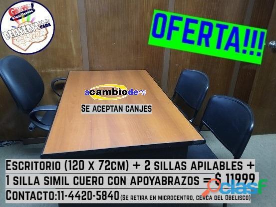 Promo: escritorio + 2 sillas apilables + 1 silla con apoyabrazos = $11999