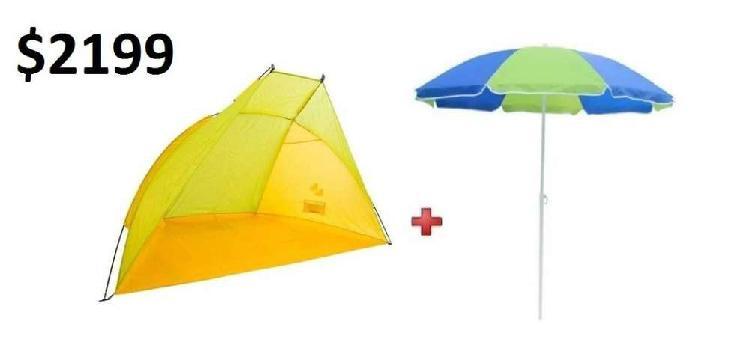 Combo de carpa playera y sombrilla, playa, camping, jardín.