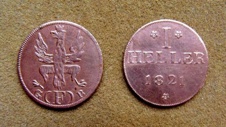 Moneda de 1 heller frankfurt, alemania 1821