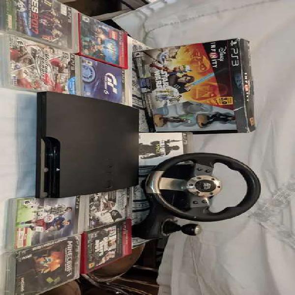 Playstation slim 3 160gb + volante race + disney infinity