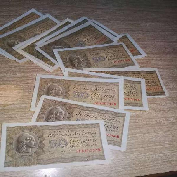 Billetes 50 ctvos moneda nacional sin circular