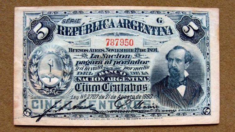 Billete de 5 centavos, argentina 1891