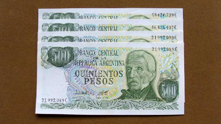 Billetes de 500 pesos ley 18.188 argentina 1979