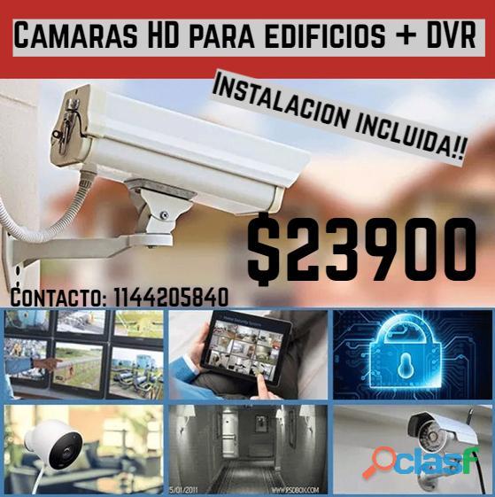 3 cámaras + dvr + instalación incluída: $23900