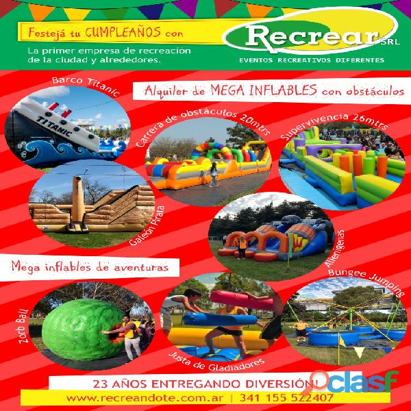 Alquiler de juegos inflables y toro mecanico recrear s.r.len rosario argentina