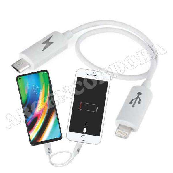 Cable carga de emergencia - micro usb v8 a iphone