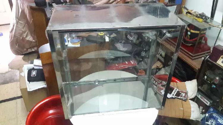 Espectacular exhibidora de mostrador acero inoxidable vidrio