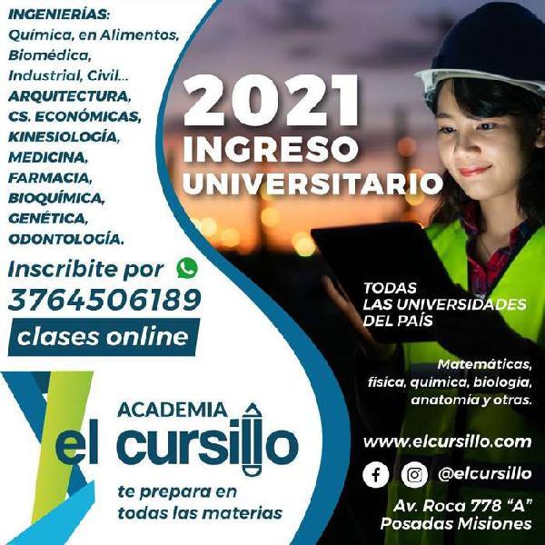 Ingreso universitario 2021. clases de apoyo para ingreso a