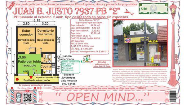 Juan b. justo frente plazoletas 7900 - ph en venta en villa