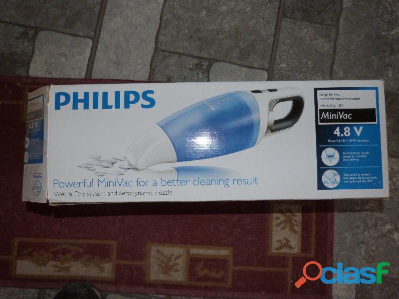 Aspiradora inalambrica manual philips, para secos y húmedos.