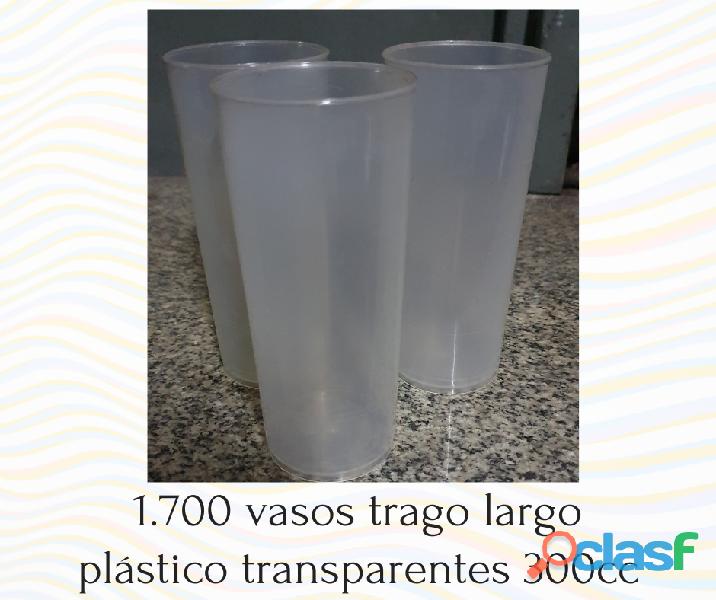 Vasos trago largo plástico transparentes 300cc por mayor
