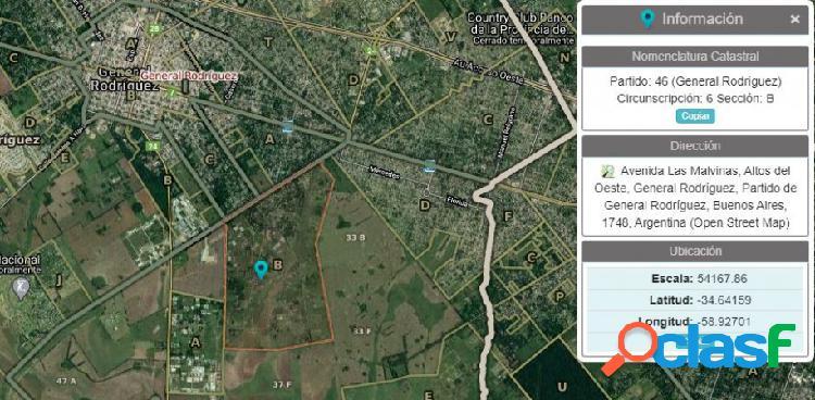 Terreno 3500 m2 - general rodriguez - zona rural