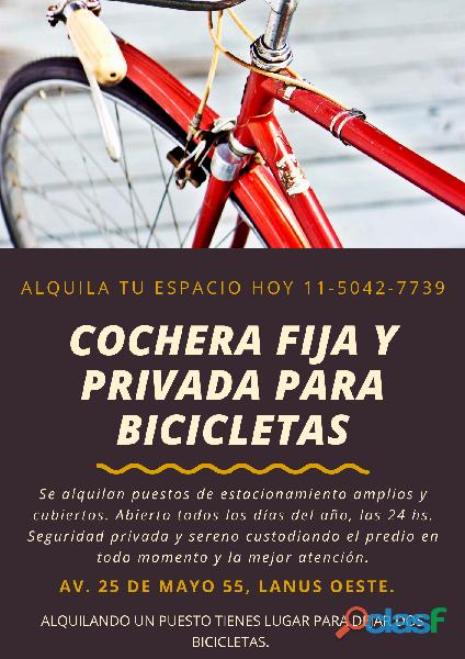 COCHERA MENSUAL PARA BICICLETAS Y MOTOS EN LANUS
