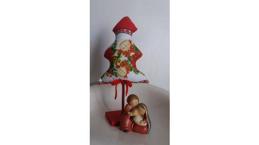 Arbol pino navidad nuevo tela base madera alto 36 cm largo