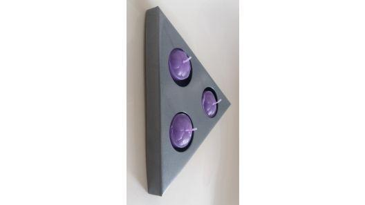 Candelabro porta vela base triangulo para 3 velas metálico