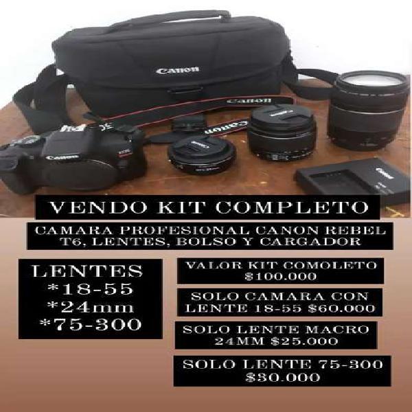 Vendo/remato Camara profesional canon REBEL T6 con kit de
