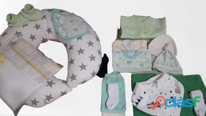 Kit ajuar para bebe  INCLUYE 15 PIEZAS SUPER ELEGANTES