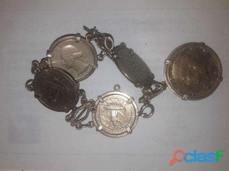 Pulsera antigua de plata con 5 monedas, Medalla papa Juan pablo ll, Monedas antiguas