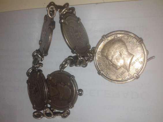 Pulsera antigua de plata con 5 monedas, medalla papa juan