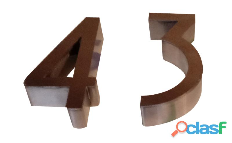 Números de acero inoxidable para casas en Callao Valentín Alsina 14