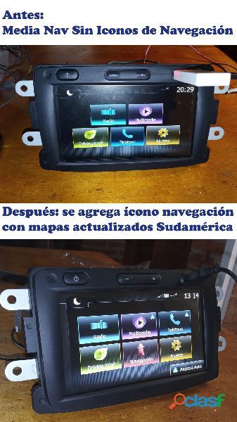 Activo icono gps sistema android auto, actualizo mapas y video todas las versiones media nav