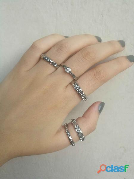 Set de 5 anillos plateados de Rodio y Strass Talles s y M. Nuevo Con Etiqueta 1