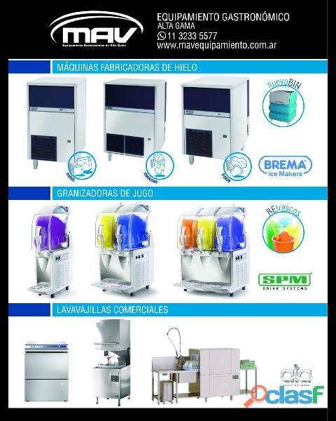 Mav máquinas de hielo brema, hornos pizzeros italforni, unox hornos convectores