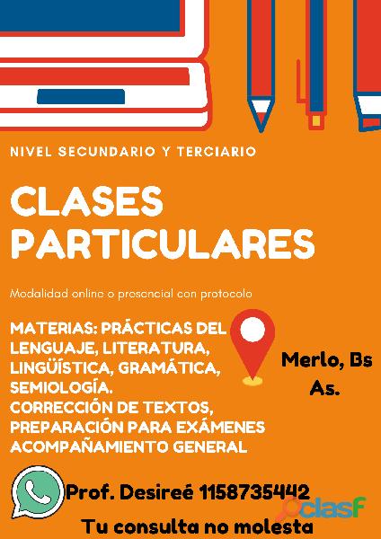 Clases particulares de lengua, literatura, lingüística, etc.