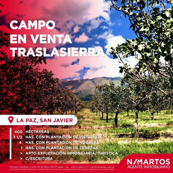 Campo 400 hectáreas en la paz traslasierra c/ escritura