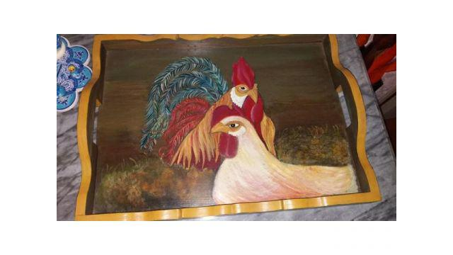 Bandeja madera pintada a mano alto 36 cm ancho 83 cm
