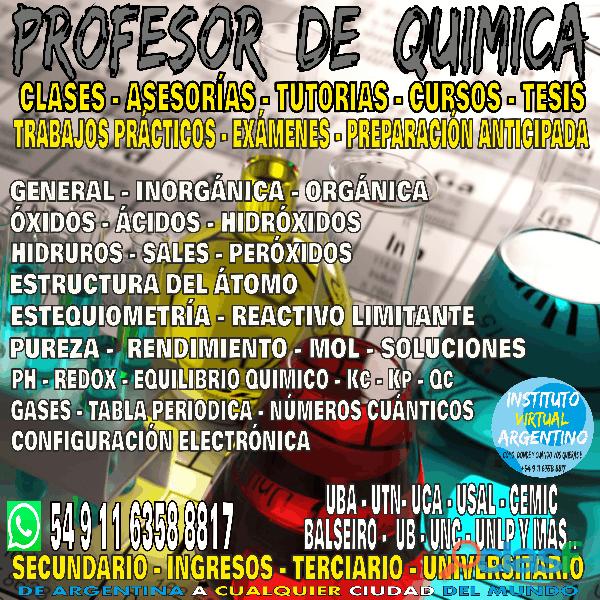 PROFESOR DE QUIMICA TODOS LOS NIVELES