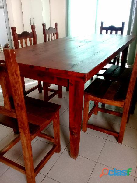 Juego de mesa de algarrobo rectangular con 6 sillas!!