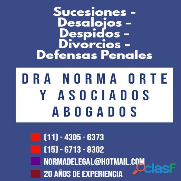 Abogados divorcios,desalojos,sucesiones,penal 4305 6373