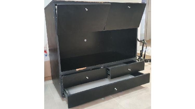 Mueble para colocar tv y equipo de música con 3 cajonera y