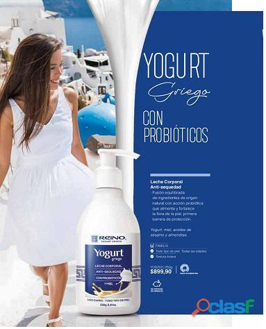 Leche corporal con probioticos  anti sequedad  yogurt griego