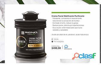 Crema facial purificante carbon detox  con acido hialuronico
