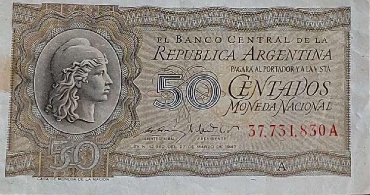 Vendo billete argentino de cincuenta centavos moneda